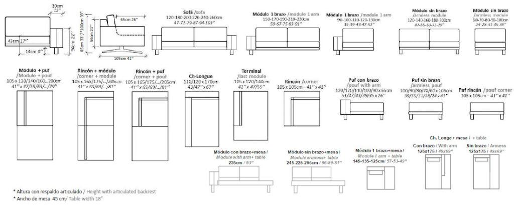 Modulación disponible sofá Poso
