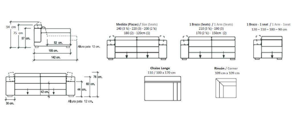 Modulación disponible sofá deslizante Batu
