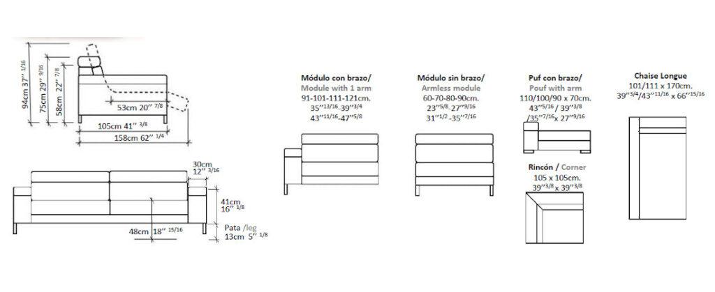 Modulación disponible sofá Kol