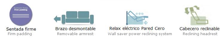 Características técnicas: reclinable, desmontable, relax eléctrico y sentada firme